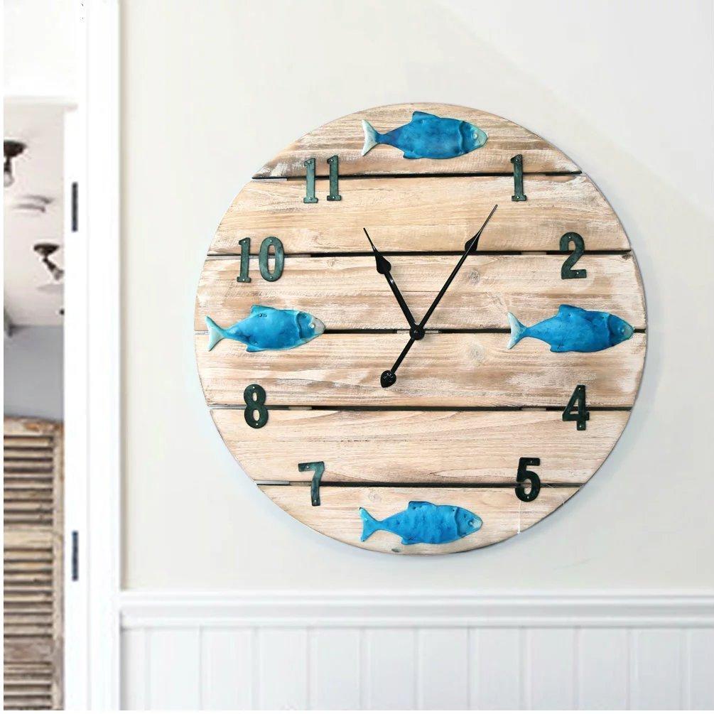 アンティーク調 掛け時計 おしゃれ 壁掛け 時計 地中海風 壁飾り 音しない 独特 木製 丸 魚 音しない SFANY B07CRNJ8PZ
