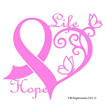 Pnk cancer awareness ribbon heart life hope decal vinyl stickerur impressionscars