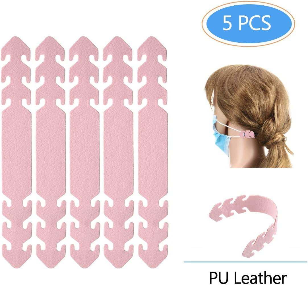 Pink Guguda Ear Mask Hook Anti-Slip 5 pcs 3 Gears Adjustable Buckle,Ear Hook for Long time Wearing Ear Pressure Pain for Adults and Children