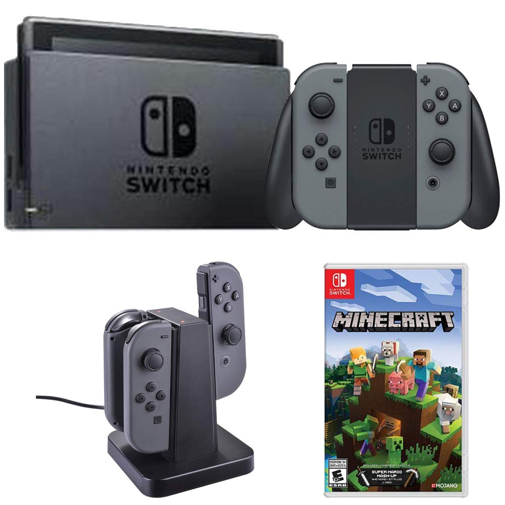 Nintendo Switch 32 GB Console with Gray Joy Con (HACSKAAAA) + Minecraft Bundle Includes, Switch Minecraft and Deco Gear Switch Joy-Con Charging Dock