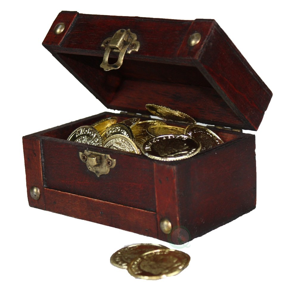 Mini Treasure Chest Full of Coins Decorative Gifts