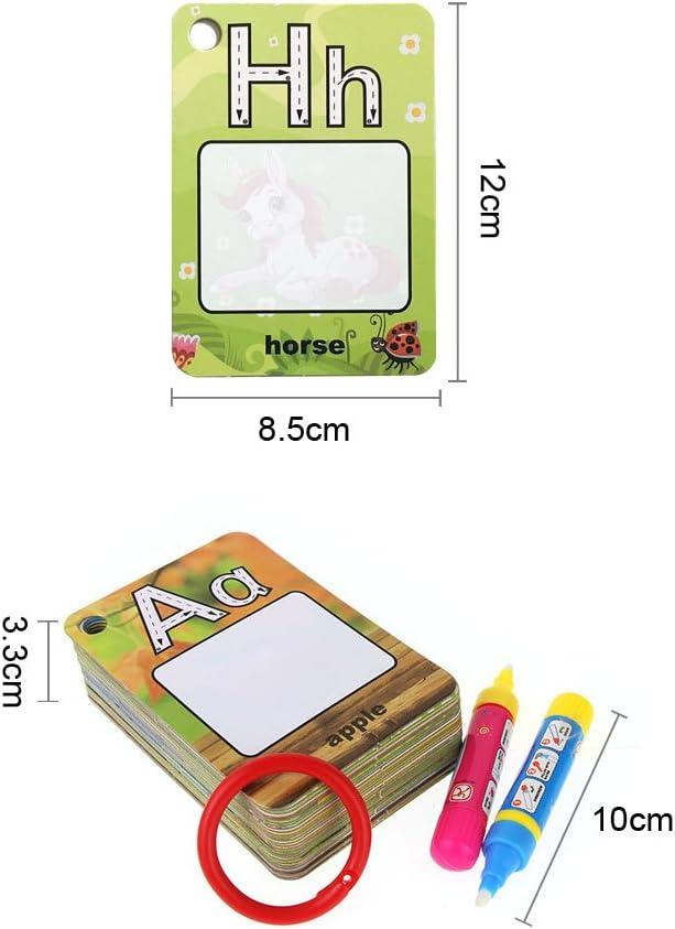 Jun-see Tarjetas de Palabras con Caja de Color, My First Water Magic Word Cards Games, Tarjeta de Dibujo para Colorear con 2 bolígrafos de Agua, Letter: Amazon.es: Juguetes y juegos