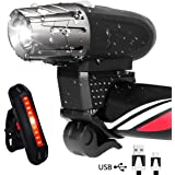 AOMEES LED Bike Light Set, LED Bike Lights Torch Front Headlight & Tail Light USB Rechargeable