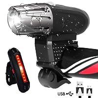 AOMEES LED Bike Light Set, LED Bike Lights Torch Front Headlight & Tail Light USB Rechargeable