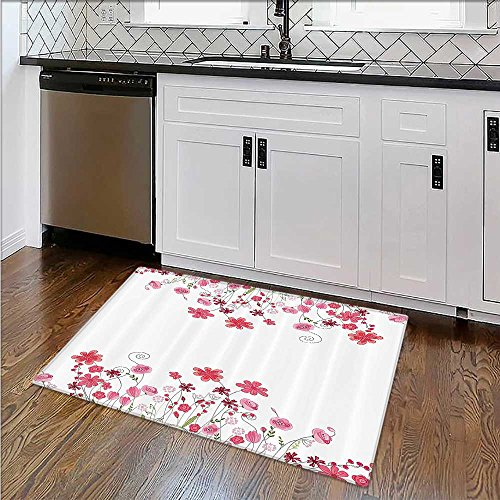Stain Resistant Tropic Wild Hibiscus Flower Branch With Fresh Leaves Exotic Flora Ccept Rug for Picnics or Beaches Outings W34