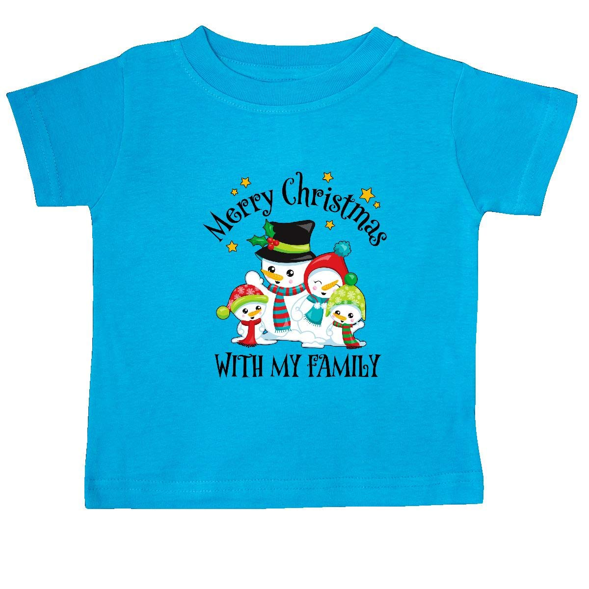 inktastic Merry Christmas with My Family Snow People Baby T-Shirt