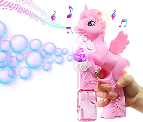 1 x Kids Magical Musical Unicorn Bubble Gun bubbles machine toy 21.5 cm high NEW