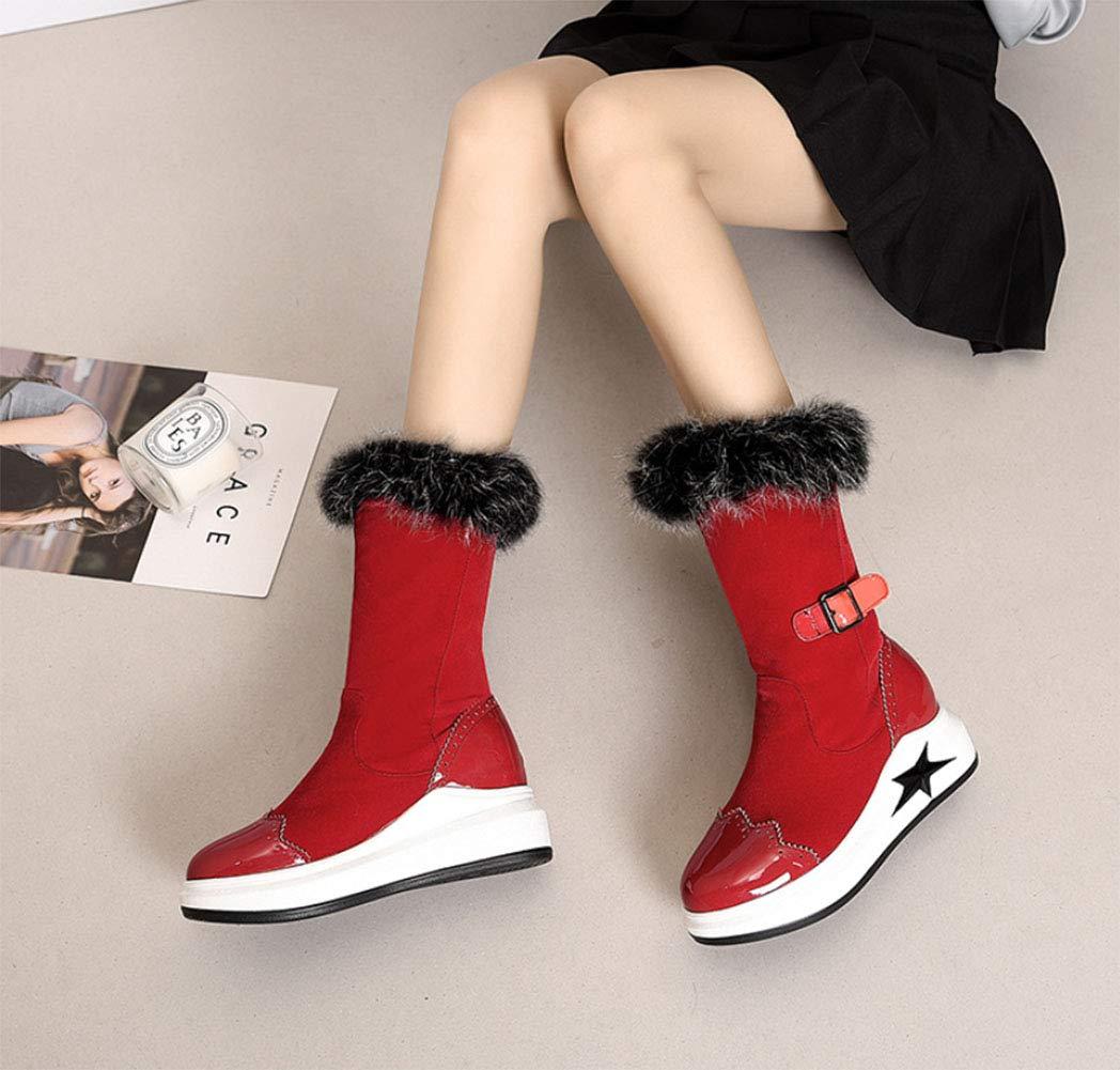 HRN Frauen Schnee Schnee Schnee Stiefel dicken Boden Wildleder runden Kopf erhöht in der Mitte Rohr Stiefel verdicken warme Gürtelschnalle fünfzackigen Stern dekorative Baumwolle Schuhe,rot,36EU b0b628