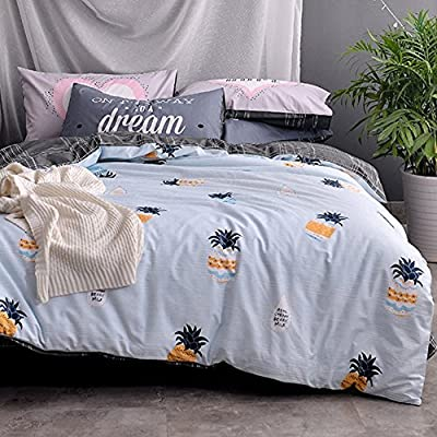 DACHUI Cotton bed sheets - 1800 beds fade, stain resistant - Hypoallergenic - 4 units (Appendix flowers - Korean style) - O
