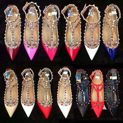 Chris-t Damesschoenen Klinknagels Pearl Studded T-strap Enkelgesp Schoenen Rood Patent