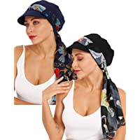 DORALLURE Newsboy Cap with Silky Scarfs Breathable Bamboo Fiber Lined Chemo Headwear for Women