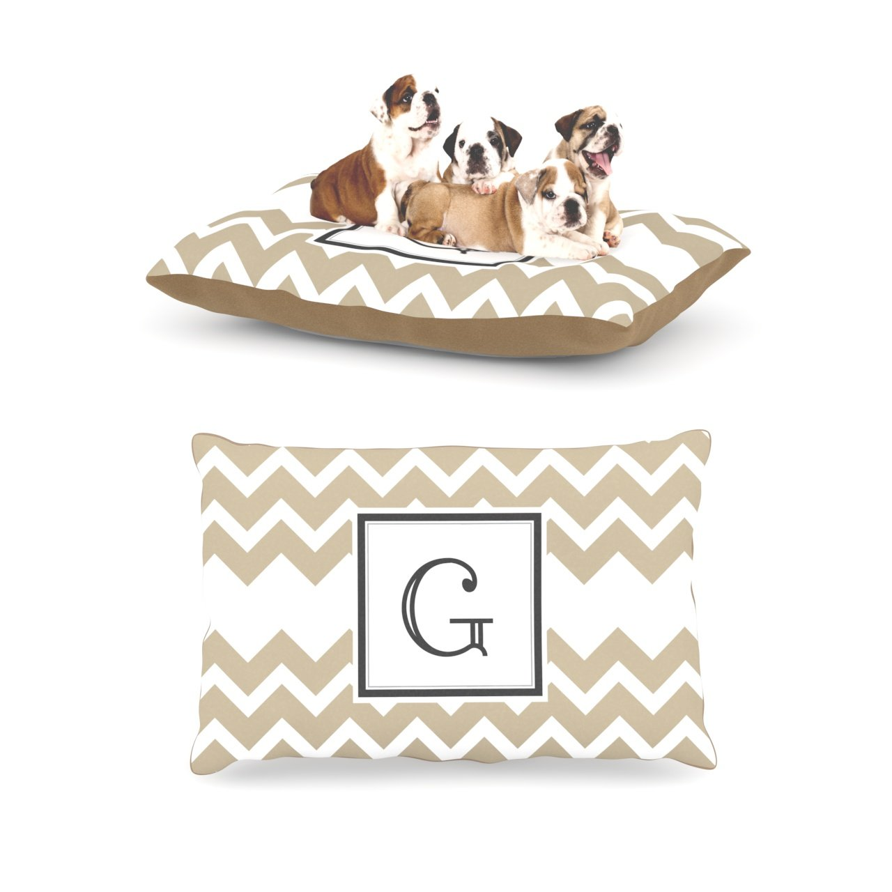G L 30 Inches x 40 Inches G L 30 Inches x 40 Inches Kess InHouse Chevron Tan Fleece Dog Bed, 30 by 40-Inch, Monogram Letter-G