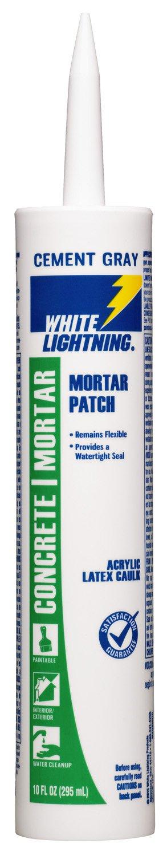 White Lightning W42004010 Mortar Patch Latex Caulk, Cement Gray, 10 ounce