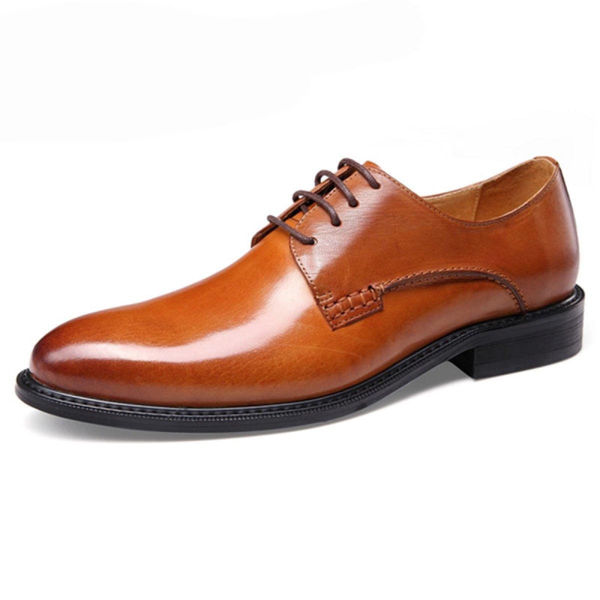 GRRONG Men sbquo;s Britischen Wind Freizeitschuhe Geschauml;ft Hochzeit Schuhe  39|Brown