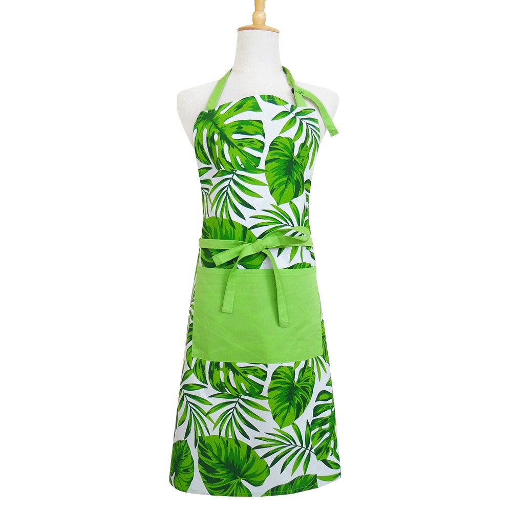 Apron, Hawaiian Party Decorated with Unique Herbal Summer Hawaiian Design, Women's Apron with Pockets, eco-Friendly and Safe, Adjustable Neck and Waist tie, Machine Washable, Palm Leaf Pattern Apron,