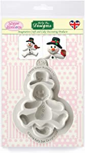 Snowman Silicone Mold for Cake Decorating, Crafts, Cupcakes, Sugarcraft, Candies, Chocolate, Card Making and Clay, Food Safe Approved, Made in the UK, Sugar Buttons by Kathryn Sturrock