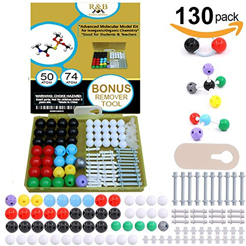 Molecular Model Kit: chemistry, biochemistry, organic chemistry, inorganic-Remover tool included, guide included-Good for students/teachers-Hands on training, light, convenient storage!