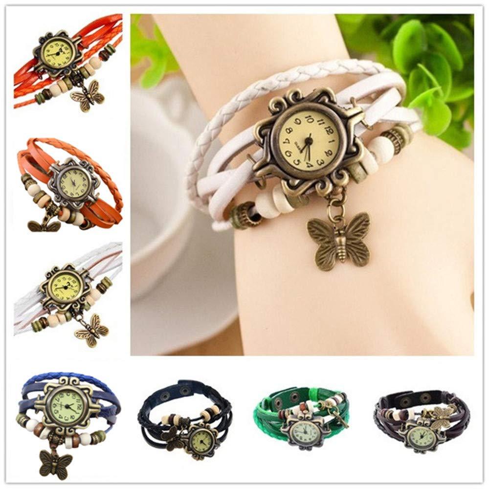Pocciol Brown Retro Weave Wrap Lady Bead Butterfly Dangle Bracelet Bangle Quartz Wrist Watch (Coffee) by Pocciol Cheap-Nice Watch (Image #1)