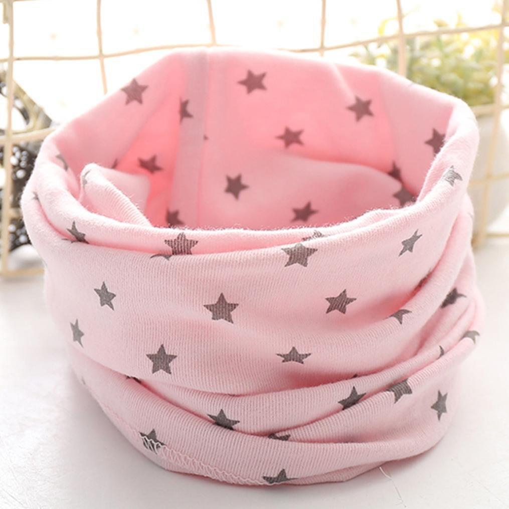 Kids Scarf SHOBDW Boys Girls Baby Cute Stars Cotton O Ring Neck Spring Autumn Winter School Scarves Birthday Gifts