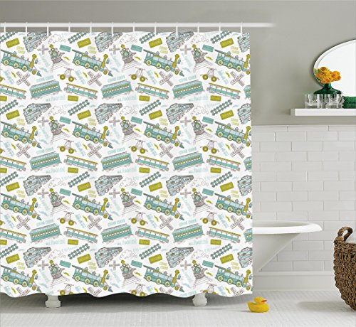 Steam engine shower curtain set by ambesonne choo choo for Train themed fabric