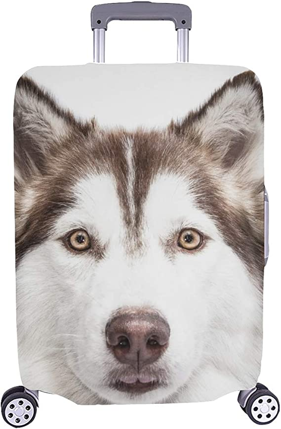 ALAZA Siberian Husky Dog Luggage Cover Fits 29-32 Inch Suitcase Spandex Travel Protector XL