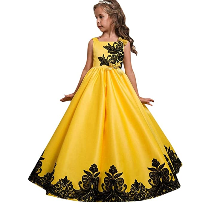 Lenfesh Vestidos de Princesa Elegante encaje Sin mangas Boda Fiesta Fotografía para Niña Tul Vestido con