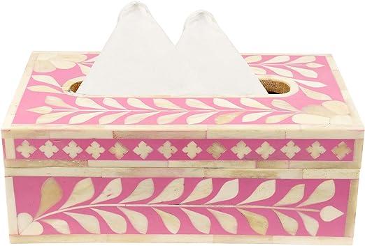 GAURI KOHLI Bone Inlay Decorative Tissue Box Cover in Bright Green Color Large Size | 6 X 6