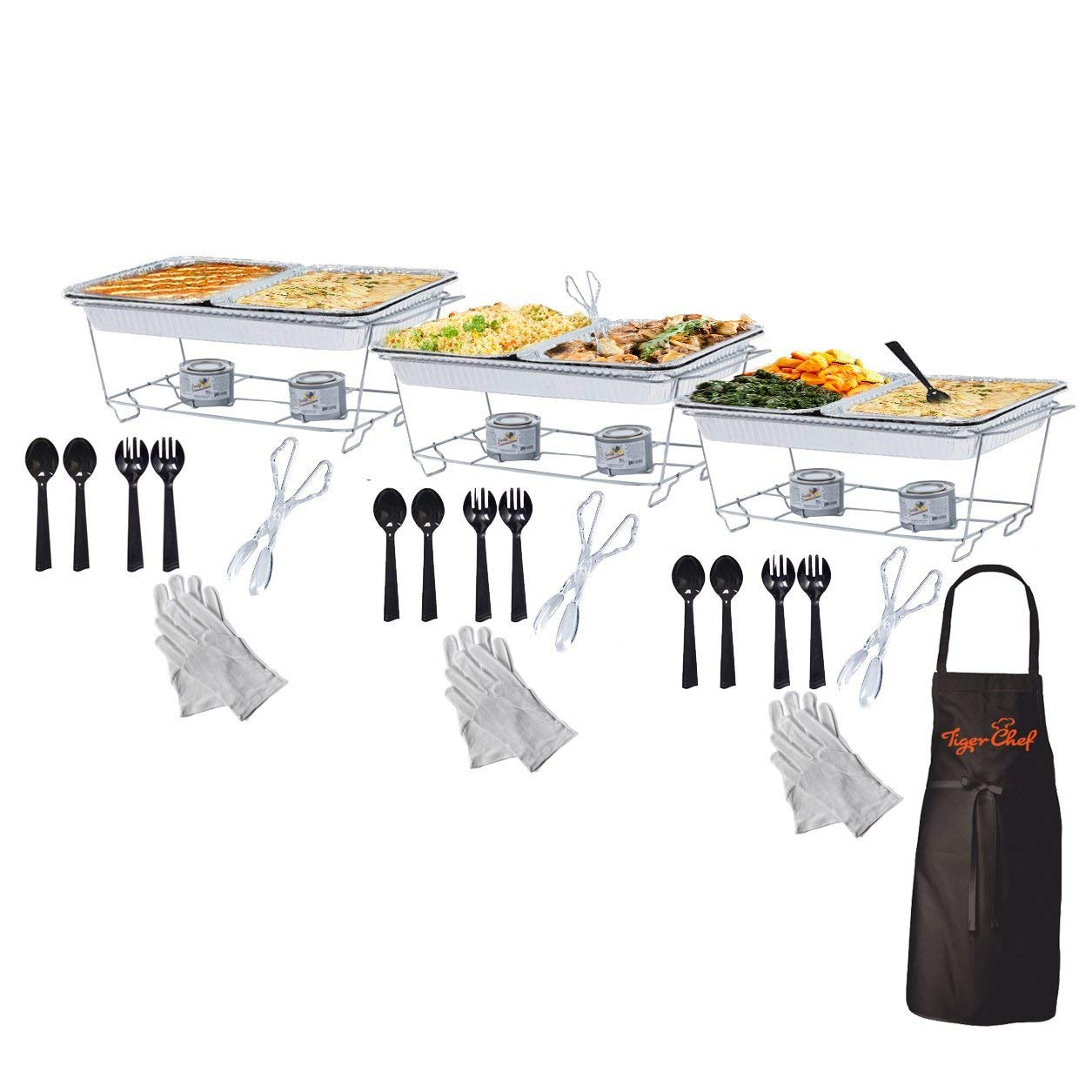 Tiger Chef Full Size Disposable Wire Chafer Stand Kit, Set Includes White Waitress Gloves, White, 40 Piece by Tiger Chef (Image #2)