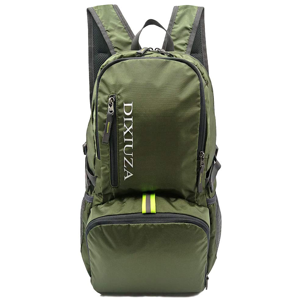 Lightweight Packable Backpack, DIXIUZA Nylon Water Resistant 35L Large Daypack for Travel, Cycling, Hiking, Camping, Beach, Outdoors – Amry Green