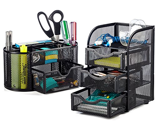 Halter Steel Mesh 2 Piece Desk Organizer Set - Oval Desk Supply Caddy and 3 Drawer Mini Hutch Organizer Storage - Black (2 Piece Drawers)