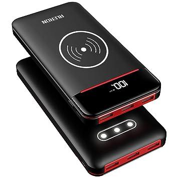 RLERON Batería Externa 25000mAh Inalámbrico Power Bank, Cargador Móvil Portátil con USB C & Micro 2 Entradas y 3 Puertos, 3 LED para Dispositivos QI, ...