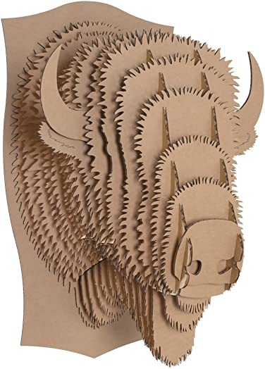 Cardboard Safari Recycled Cardboard Animal Taxidermy Bison Trophy Head, Billy Brown Large