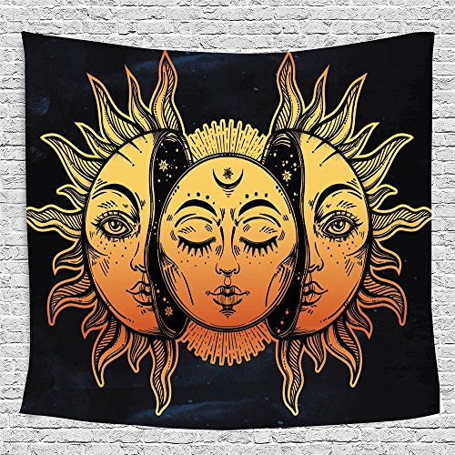 HL Wall Tapestry, Moon and Sun Face Pattern Fabric Wall Tapestry Hanging for Bedroom Living Room Dorm Handicrafts Beach Cover Up Curtain Polyester Wall Decor(60 x 80 Inch, Moon and Sun) by Hongxiu Lighting Direct (Image #7)
