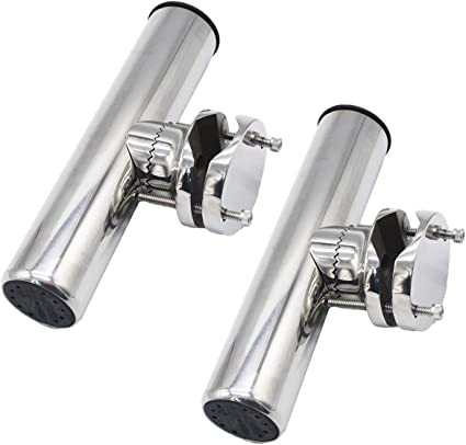 2X Adjustable Stainless Steel Boat Marine Clamp On Fishing Rod Holder