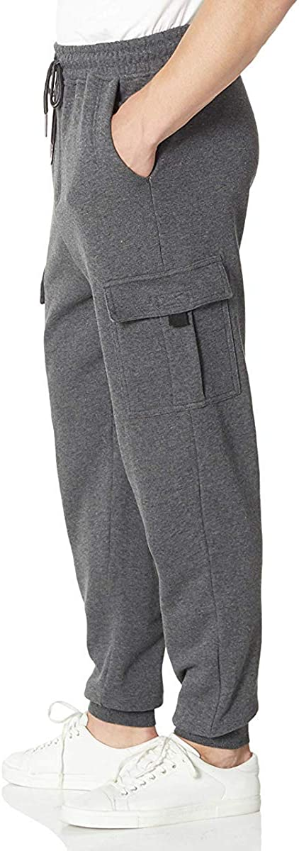 Mens Sweatpants with Fleece Joggers Cargo with Pockets Workout Training Gym Track Pants
