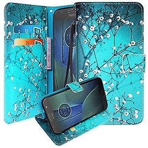 Moto G5S Plus Case, Moto G5S+ Case, Linkertech [Kickstand Feature] PU Leather Wallet Flip Pouch Case Cover With Wrist Strap & Card Slots For Motorola Moto G5S Plus / Moto G5S+