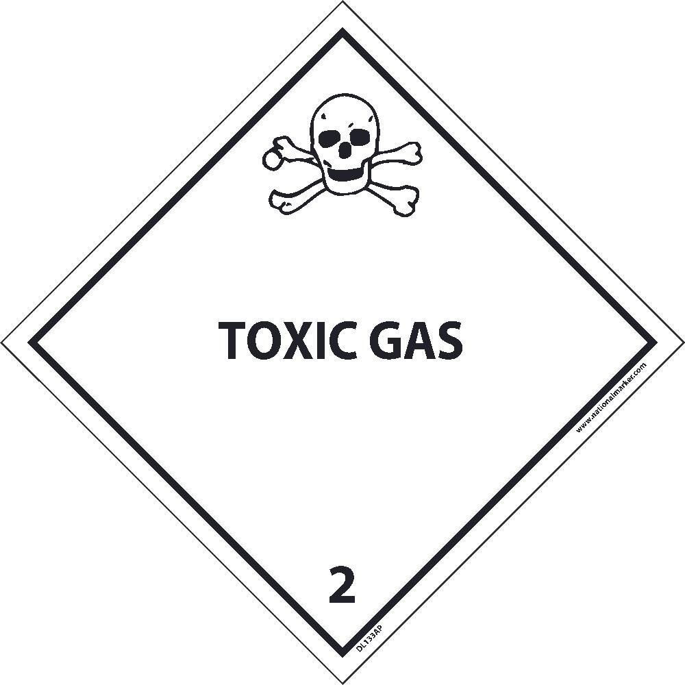 DL133ALV National Marker Dot Shipping Label, Toxic Gas 2, 4 Inches x 4 Inches, Ps Vinyl 500/Roll