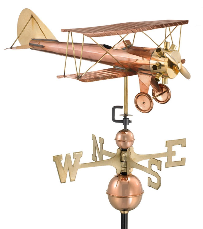 23'' Luxury Polished Copper Biplane Weathervane