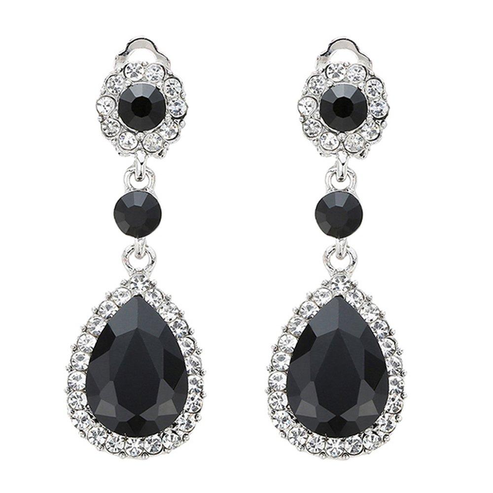Gorgeous Austrian Cut Crystal Rhinestone Ear Clip on Earring Wedding Bridal Teardrop Drop Dangle Earrings (Clip on Black)