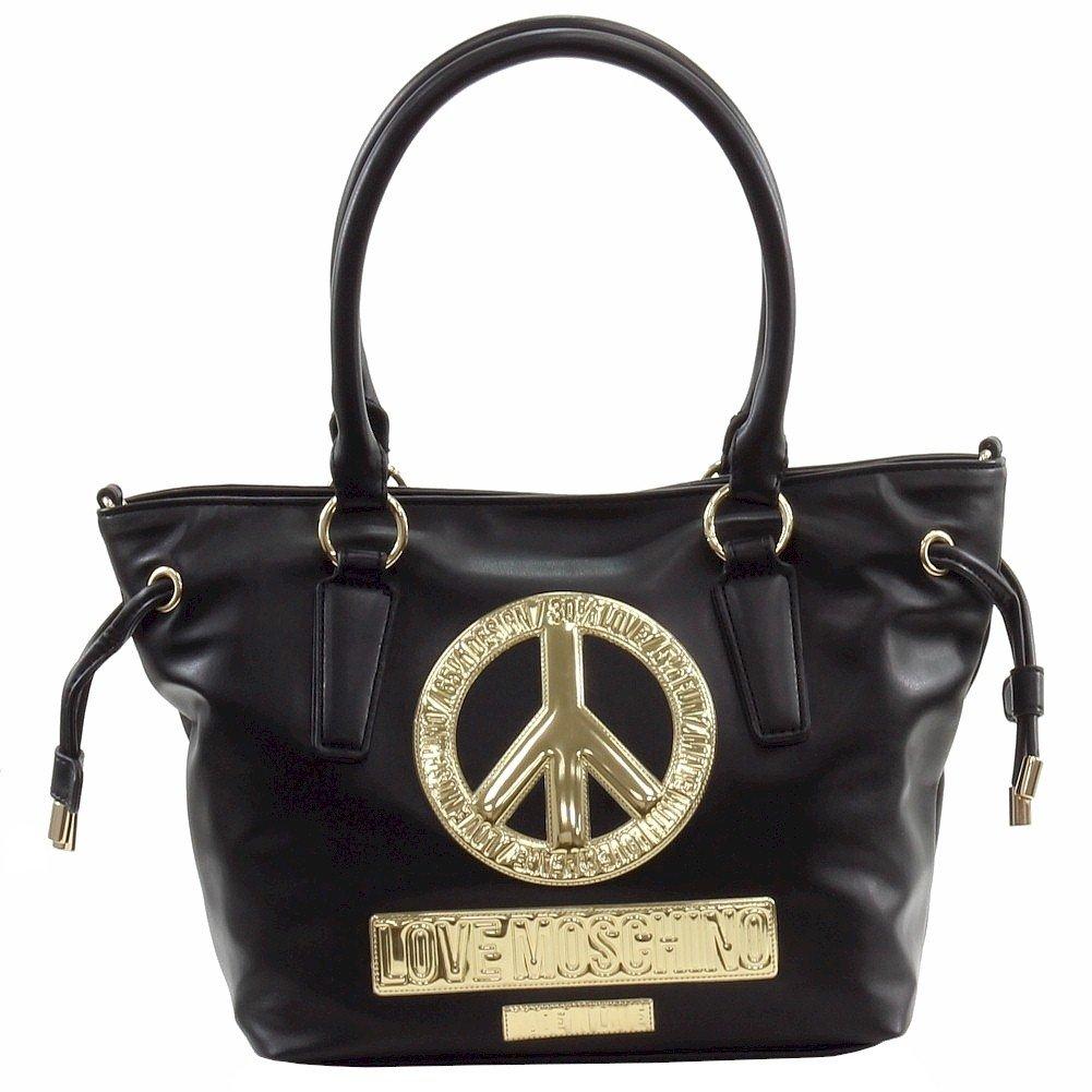 Love Moschino Women's Peace Black Leather Bucket Tote Handbag