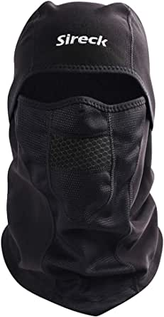 Sireck Cold Weather Balaclava, Water Resistant and Windproof Fleece Thermal Ski Mask, Motorcycle Cycling Hunting Neck Warmer Face Mask Winter Gear for Men Women Black