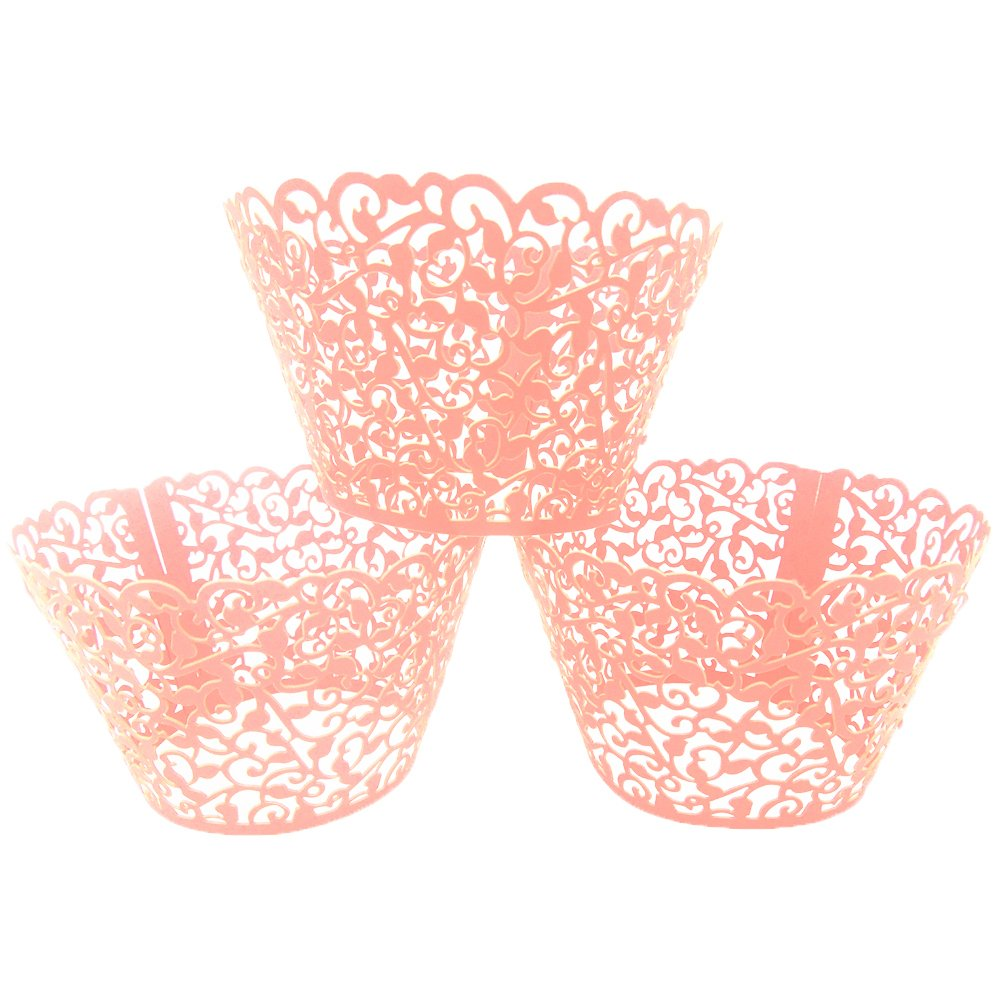 LEFV™ 24pcs Cupcake Wrapper Filigree Little Vine Lace Laser Cut Liner Baking Cup Muffin Case Trays Wraps Wedding Birthday Party Decoration Pink