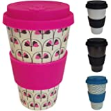 Bamboo Reusable Coffee Cup – 400ml – Leak Proof Lid, Eco Friendly & Dishwasher Safe - Heat Proof Silicone Sleeve – The Best Travel Mug Bamboo – Pink Leaf – by Opus Living