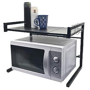 Whifea Microwave Oven Rack Kitchen Storage Organizer Width Adjustable Black Cabinet Shelf (Matte Black)