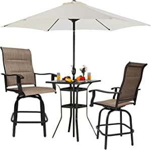 Outdoor High Top Patio Bar Stools Swivel Bistro Bar Height Patio Chairs Padded Sling Textilene Bistro Table and Chair Set with Umbrella Hole for Home Garden Yards Porches 24'H, 3 Packs