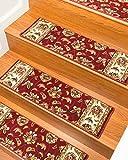 NaturalAreaRugs Stellar Polypropylene Carpet Stair Treads, Durable, Stain Resistant, Red, Set Of 13, 9'' x 29''