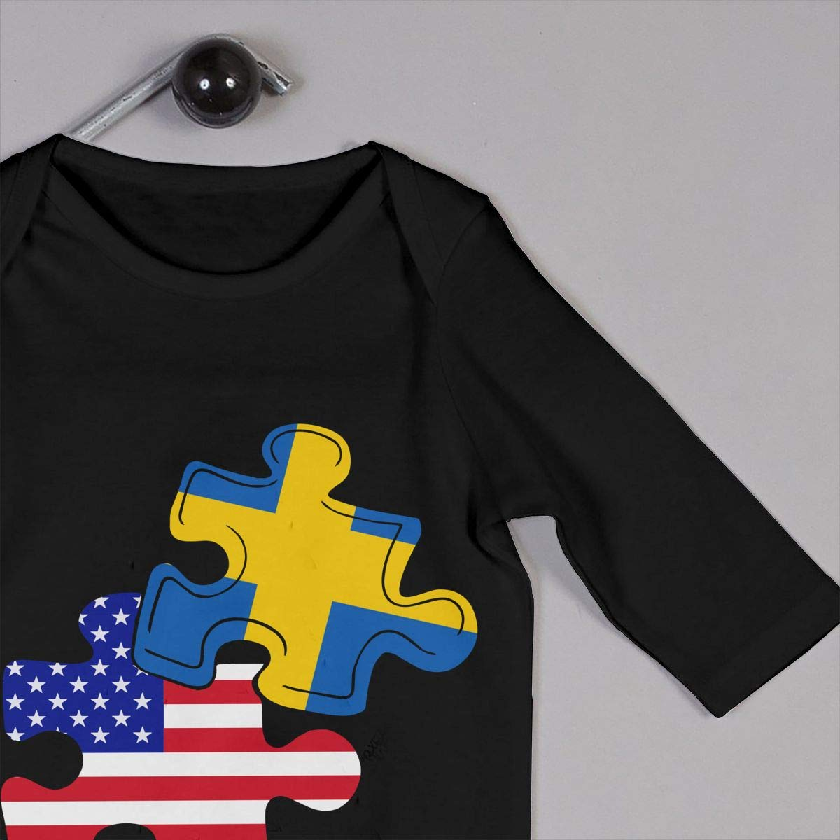 Mri-le1 Baby Boy Long Sleeve Jumpsuit Swedish American Flag Puzzle Piece Toddler Jumpsuit