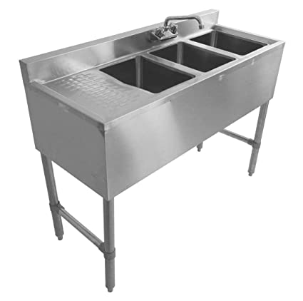 DuraSteel 3 Compartment Stainless Steel Bar Sink NSF 10u0026quot; X 14u0026quot;  Bowl Size Commercial