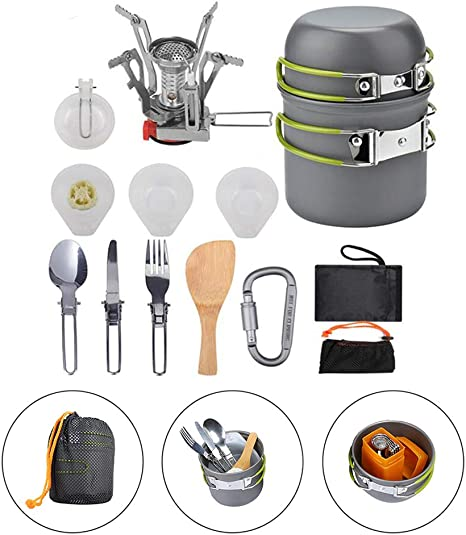 Kit de utensilios de cocina para ollas de camping, juego de ...