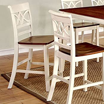 Smeaton Country Style Vintage Off White And Cherry Finish Counter Height  Chairs (Set Of 2)